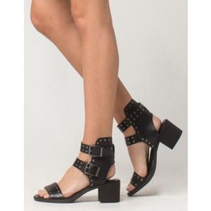 Shoes - MIA black gladiator sandals double buckle size 20